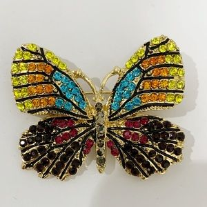 Multicolor Crystals butterfly brooch NWT